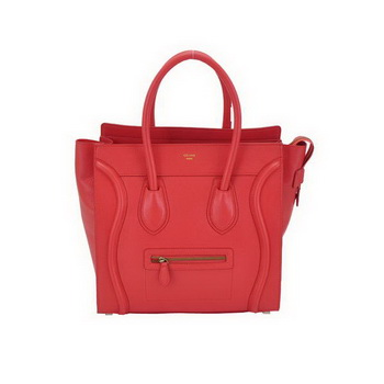 Celine Luggage Mini Boston Bags Calskin Leather Light Red