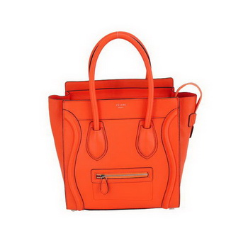 Celine Luggage Mini Boston Bags Fluorescence Calskin Leather Orange