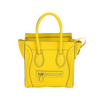 Celine Luggage Mini Boston Bags Fluorescence Calskin Leather Yellow