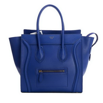 Celine Luggage Mini Boston Bags Original Leather Blue