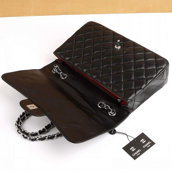 Chanel Jumbo Bags A36073 Black Lambskin Leather Silver Hardware