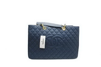 Chanel A37001 GST Dark Blue Caviar Leather Large Coco Shopper Bag Gold