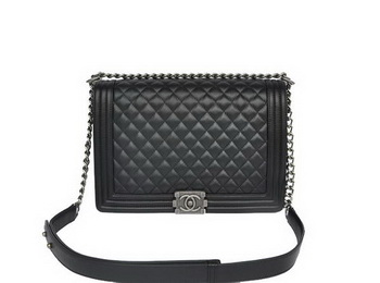 Chanel A67087 Black Sheepskin Leather Le Boy Flap Shoulder Bag