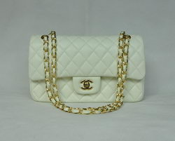 Chanel Classic Flap Bag 1112 Beige Leather Golden Hardware