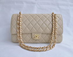 Chanel Classic 2.55 Series Apricot Lambskin Golden Chain Quilted Flap Bag 1113