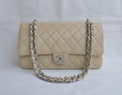 Chanel Classic 2.55 Series Apricot Lambskin Silver Chain Quilted Flap Bag 1113