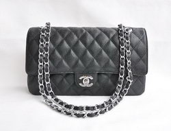Chanel Classic 2.55 Series Black Caviar Silver Chain Quilted Flap Bag 1113