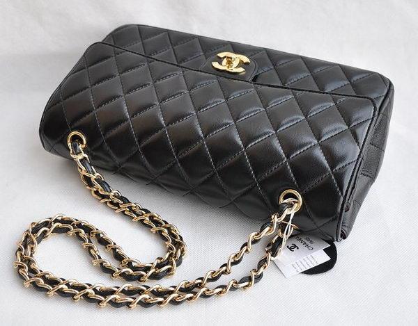 Chanel Classic 2 55 Series Black Lambskin Golden Chain