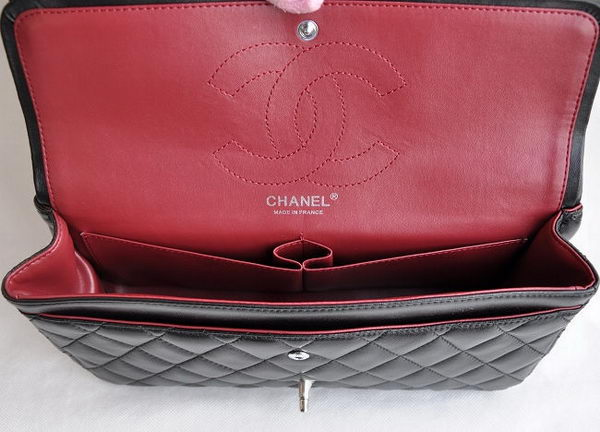 Chanel Classic 2.55 Series Black Lambskin Silver Chain Quilted Flap Bag 1113
