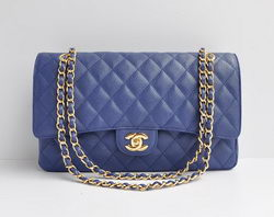 Chanel Classic 2.55 Series Blue Caviar Golden Chain Quilted Flap Bag 1113
