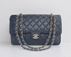 Chanel Classic 2.55 Series Light Blue Caviar Silver Chain Quilted Flap Bag 1113