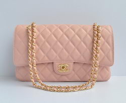 Chanel Classic 2.55 Series Pink Caviar Golden Chain Quilted Flap Bag 1113