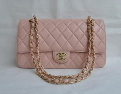 Chanel Classic 2.55 Series Pink Lambskin Golden Chain Quilted Flap Bag 1113