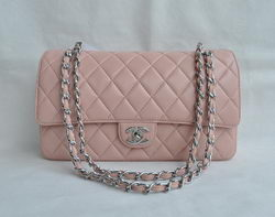 Chanel Classic 2.55 Series Pink Lambskin Silver Chain Quilted Flap Bag 1113