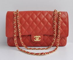 Chanel Classic 2.55 Series Red Caviar Golden Chain Quilted Flap Bag 1113