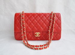 Chanel Classic 2.55 Series Red Lambskin Golden Chain Quilted Flap Bag 1113