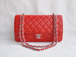 Chanel Classic 2.55 Series Red Lambskin Silver Chain Quilted Flap Bag 1113