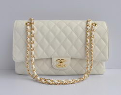 Chanel Classic 2.55 Series White Caviar Golden Chain Quilted Flap Bag 1113