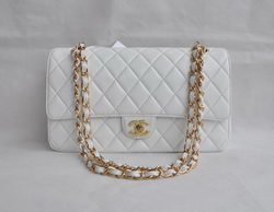 Chanel Classic 2.55 Series White Lambskin Golden Chain Quilted Flap Bag 1113
