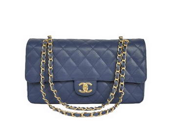 Cheap Chanel 2.55 Series Flap Bag 1113 Blue Leather Golden Hardware