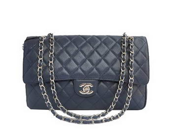 Cheap Chanel 2.55 Series Flap Bag 1113 Blue Leather Silver Hardware