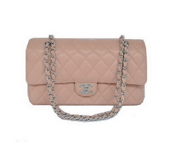 Cheap Chanel 2.55 Series Flap Bag 1113 Pink Leather Silver Hardware