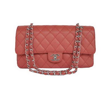 Cheap Chanel 2.55 Series Flap Bag 1113 Red Leather Silver Hardware
