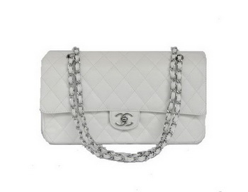 Cheap Chanel 2.55 Series Flap Bag 1113 White Leather Silver Hardware