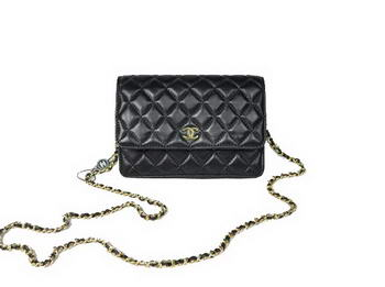 Cheap Chanel Mini Flap Bag A33814 Black Lambskin Golden