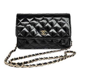 Cheap Chanel Mini Flap Bag A33814 Black Patent Golden