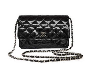 Cheap Chanel Mini Flap Bag A33814 Black Patent Silver