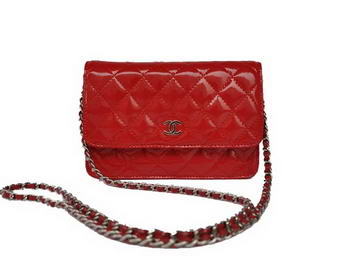 Cheap Chanel Mini Flap Bag A33814 Red Patent Silver