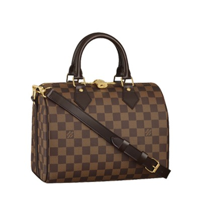 Louis Vuitton Damier Ebene Canvas Speedy 25 With Shoulder Strap N41181