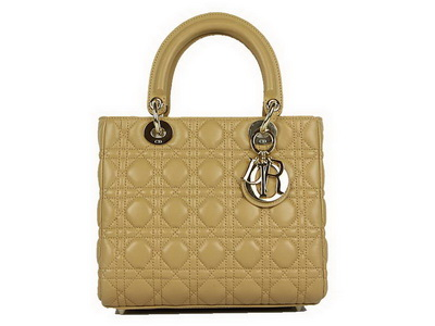 Christian Dior Lambskin Bags Lady Dior Bag CAL44550 Beige Golden