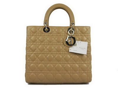 Christian Dior Lambskin Bags Large Lady Dior Bag CAL44561 Beige Golden