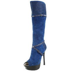 Gianmarco Lorenzi Studded Tall Boots Suede Dark Blue