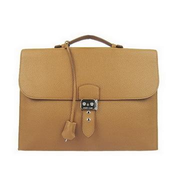 Hermes Sac Depeche 38cm Briefcase Clemence Camel