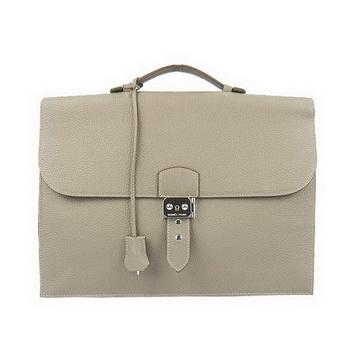 Hermes Sac Depeche 38cm Briefcase Clemence Grey