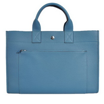 Hermes Briefcase 40CM Bag Clemence Leather Blue