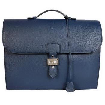 Hermes Sac Depeche 38cm Briefcase Clemence Dark Blue
