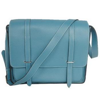 Hermes Steve 35CM Messenger Bag Clemence Leather Blue