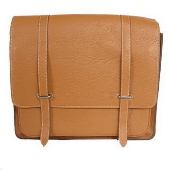 Hermes Steve 35CM Messenger Bag Clemence Leather Camel