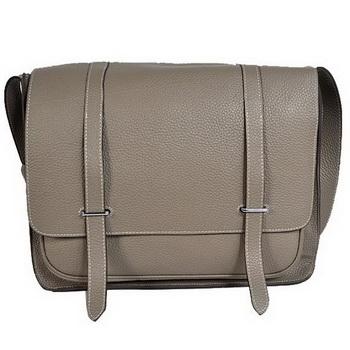 Hermes Steve 35CM Messenger Bag Clemence Leather Grey