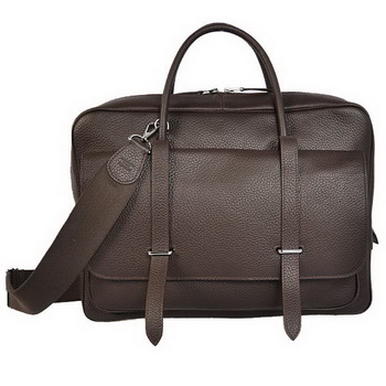Hermes Steve 38CM Travel Bag Clemence Leather Brown