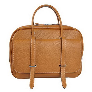 Hermes Steve 38CM Travel Bag Clemence Leather Camel