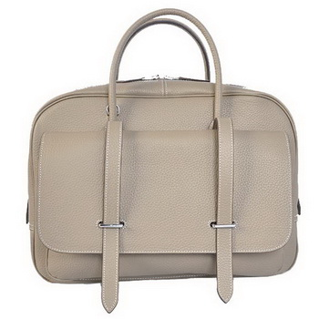 Hermes Steve 38CM Travel Bag Clemence Leather Grey