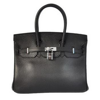 Hermes Birkin 25CM Tote Bags Togo Leather Black Silver