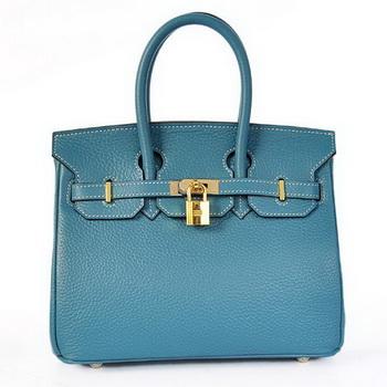 Hermes Birkin 25CM Tote Bags Togo Leather Blue Godlen