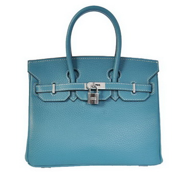 Hermes Birkin 25CM Tote Bags Togo Leather Blue Silver