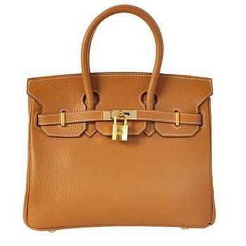 Hermes Birkin 25CM Tote Bags Togo Leather Camel Godlen
